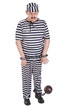 very sad prisoner with ball and chain