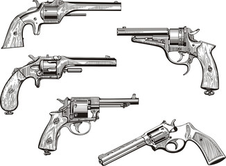 Set of old revolvers