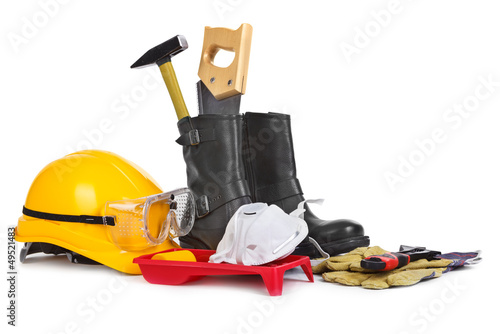 Repair accessories on white background