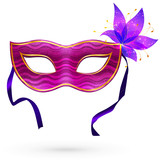 Violet vector carnival mask with flower and ribbons