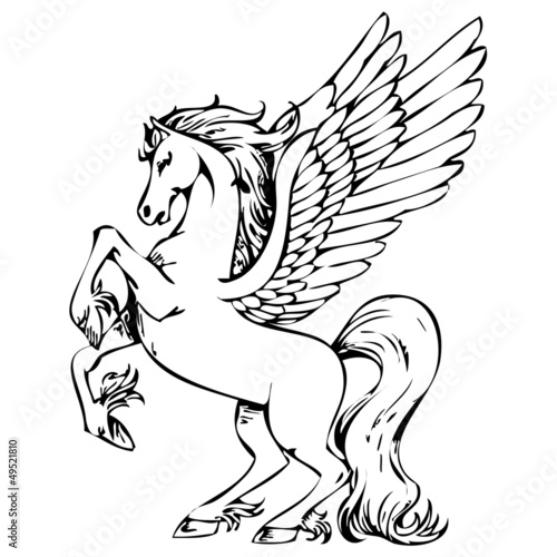 Pegasus Vektor Silhouette Abstrakt