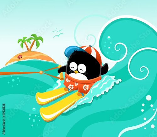 Water Skiing Penguin