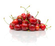 ripe cherry on a white background with reflection