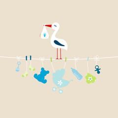 Stork Baby Boy Hanging Symbols Buggy