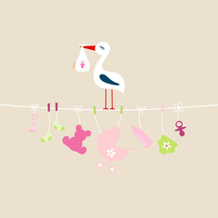 Stork Baby Girl Hanging Symbols Buggy