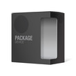 Black Realistic Package Cardboard Box with window.