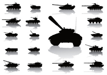Tanks detailed silhouettes set. Vector