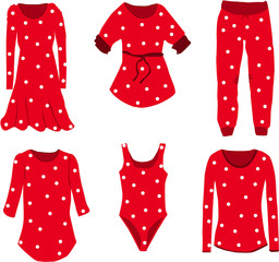 Collection of clothes in dots