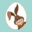 Easter Bunny Eggframe Dots Retro
