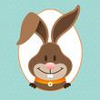 Happy Easter Bunny Eggframe Dots Retro