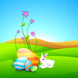 Little cute Easter rabbit with painted eggs and flower plants on