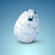 Easter Egg on blue background.
