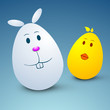 Cartoon Easter Eggs on blue background.