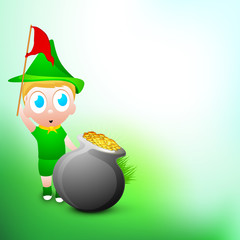 Little boy holding Flag with golden coins pot on green for Happy