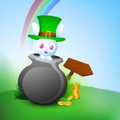 Cute little bunny in pot wearing leprechaun hat and golden coins
