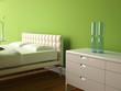 modernes Schlafzimmer grün