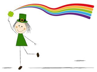 Leprechaun girl with rainbow