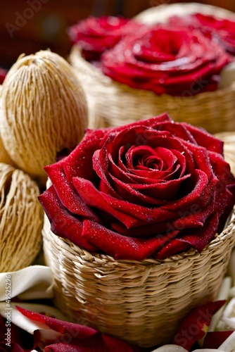 Roses in Wattle Baskets