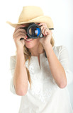 Female photographer with hat