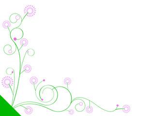 Ornement fleurs roses - gauche