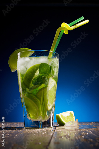 fresh coctail with lime and mint