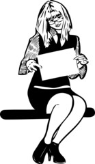 a sketch blonde with an ad in the hands of