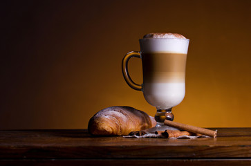 coffee with cream and croissant