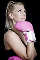 young beautiful woman during fitness and boxing