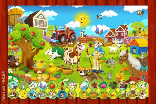 Foto op Canvas Boerderij The page with exercises for kids - farm finding