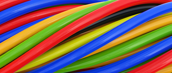 3D colored cables over white background © yavuzunlu