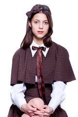 teen school girl wearing old style formal clothes