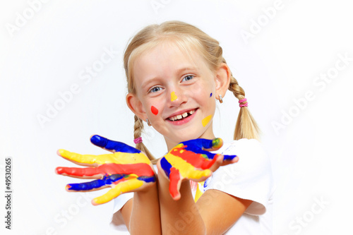 happy child with paint on the hands