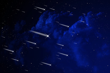 Meteor shower in the orion