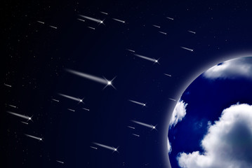 Meteor shower to the earth