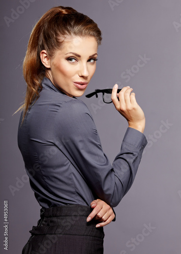 successful business woman. Isolated over white background