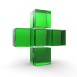 3D plus icon in green on isolated white background.3D cross icon