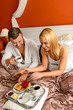 Eating romantic breakfast bed smiling couple Valentine's