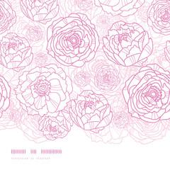 Vector pink line art flowers elegant horizontal seamless pattern