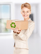 woman with recyclable box