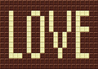 Chocolate bar with the words love