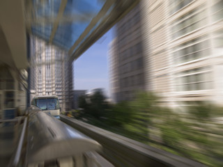 monorail in motion in Seattle Washington USA