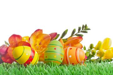 Fresien auf Gras mit Eiern