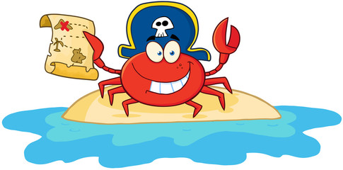 Pirate Crab Holding A Treasure Map On Island