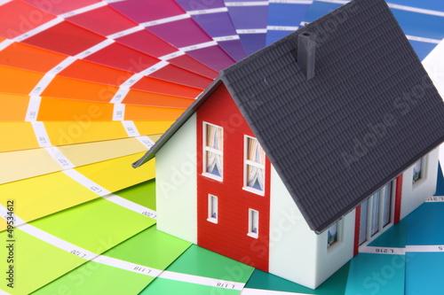 Leinwandbild Motiv farbkarte, haus
