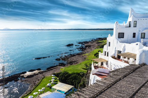 Foto Spatwand Luchtfoto Casapueblo Punta del Este Beach Uruguay