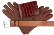 Men's wallet, belt and gloves