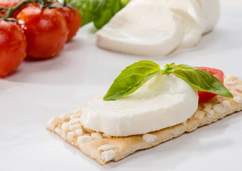 Mozzarella, basil and tomato