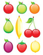 Glossy fruits - icons set