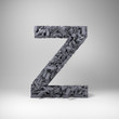 Letter Z made out of scrambled small letters in studio setting