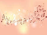 Abstract design background with colourful music notes